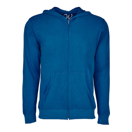 Ultra Soft Seeded Semi-fitted Zip Up Hoodie // Royal Blue (S)