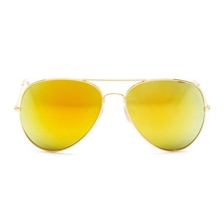 Unisex Miramar Sunglasses // Gold + Yellow Mirror Lens