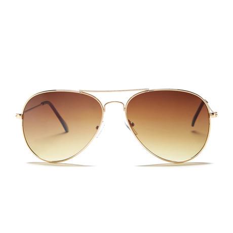Unisex Miramar Sunglasses // Gold + Brown Mirror