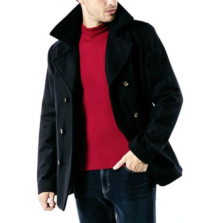 St Hilaire Modern Pea Coat In Wool Cloth // Men's // Navy (S)