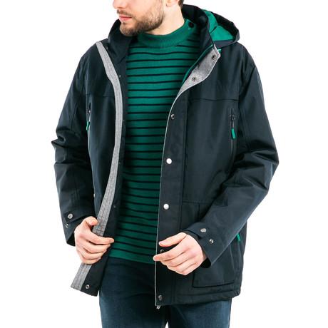 St Hugues Nautical Waterproof Raincoat + Detachable Hood // Men's // Dark Blue + Green (S)