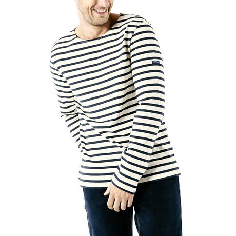 Meridien Moderne Breton Shirt // Unisex // Off-White + Navy (S)