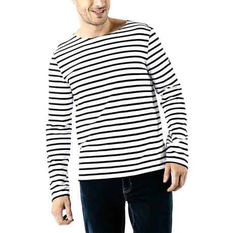 Minquiers Moderne Breton Stripe Shirt // Unisex // White + Black (S)