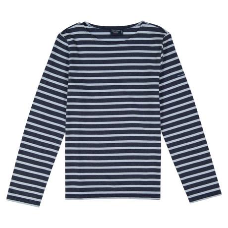 Minquiers Moderne Breton Stripe Shirt // Unisex // Gray Melange + Light Blue (S)