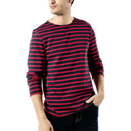Meridien Moderne Breton Shirt // Unisex // Navy + Red (S)