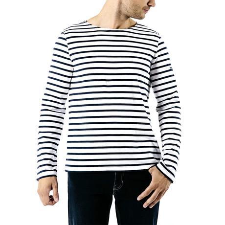 Minquiers Moderne Breton Stripe Shirt // Unisex // White + Navy (S)