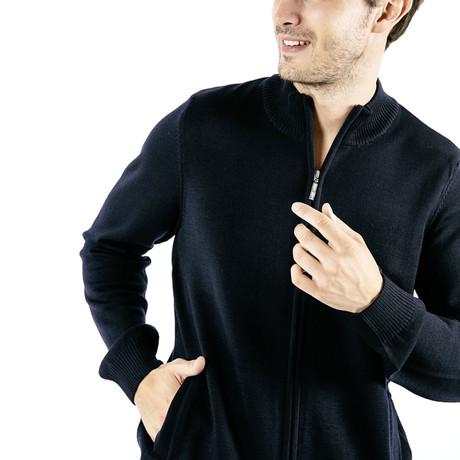 Colorado Comfortable Knit Jacket + Zip // Men's // Navy + Gray (S)