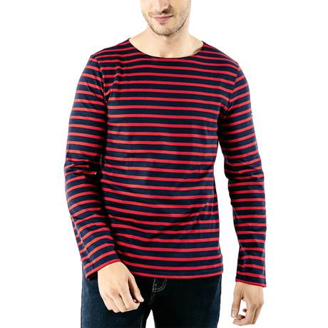 Minquiers Moderne Breton Stripe Shirt // Unisex // Navy + Red (S)