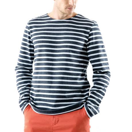 Meridien Moderne Breton Shirt // Unisex // Dark Gray Melange + Light Blue (S)