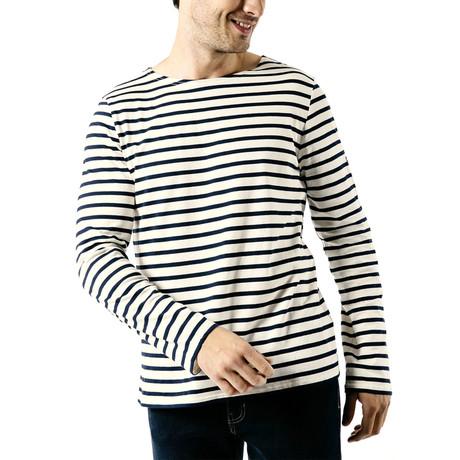Minquiers Moderne Breton Stripe Shirt // Unisex // Off White + Navy (S)