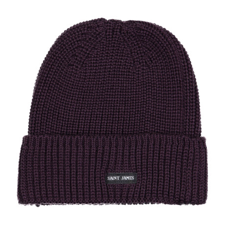 Canot Soft Wool Beanie In Purl Knit // Burgundy