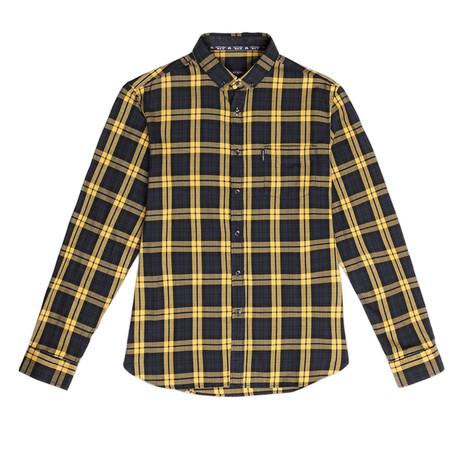 Javier Scottish Tartan Print Shirt In Cotton // Men's // Navy (S)