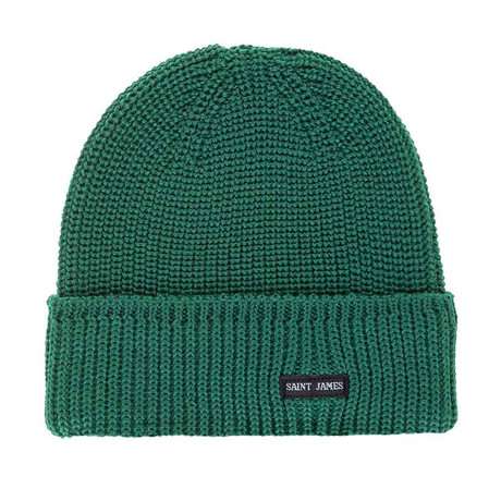 Canot Soft Wool Beanie In Purl Knit // Men's // Green