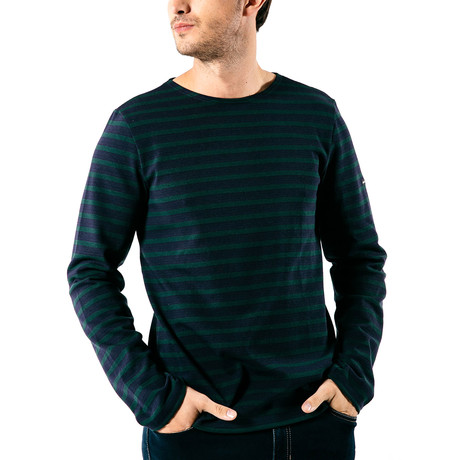 Meridien Moderne Breton Shirt // Unisex // Navy + Dark Green (S)