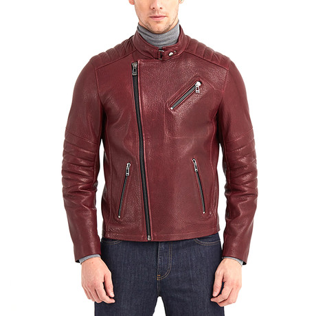 Erie Biker Leather Jacket // Bordeaux (S)