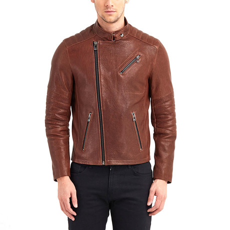 Erie Biker Leather Jacket // Red + Brown (S)