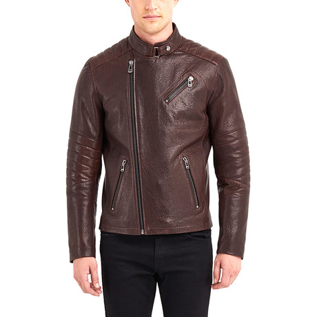 Erie Biker Leather Jacket // Chestnut (S)