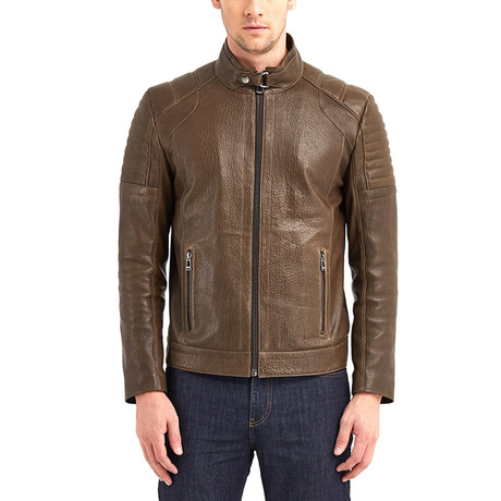 Huron Biker Leather Jacket // Khaki (S)