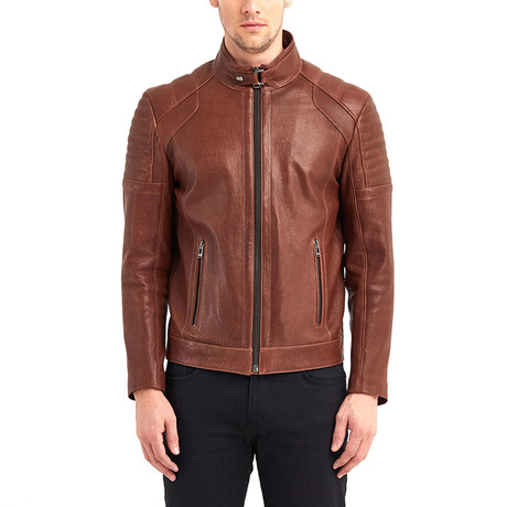 Huron Biker Leather Jacket // Red + Brown (S)