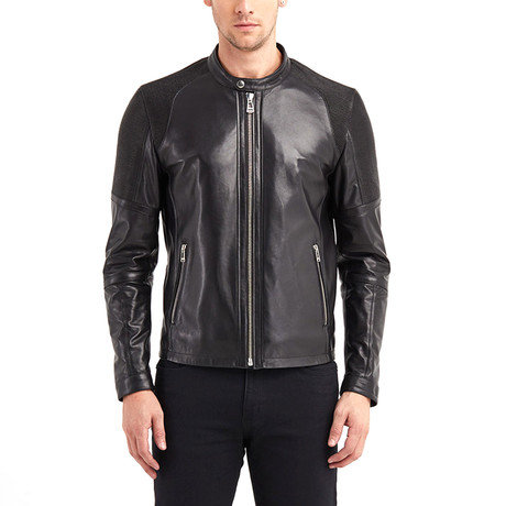 Table Rock Biker Leather Jacket // Black (S)