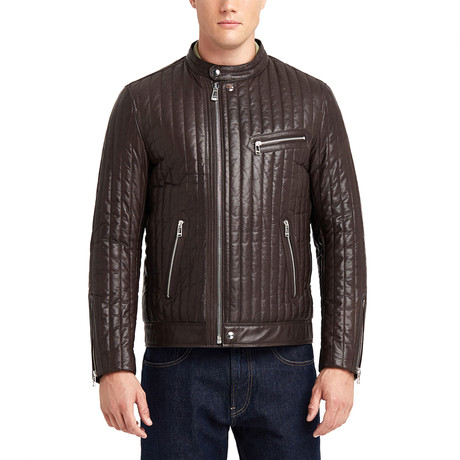 Hartwell Biker Leather Jacket // Brown (S)