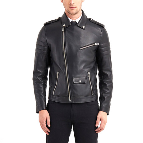 Shoals Biker Leather Jacket // Black (S)