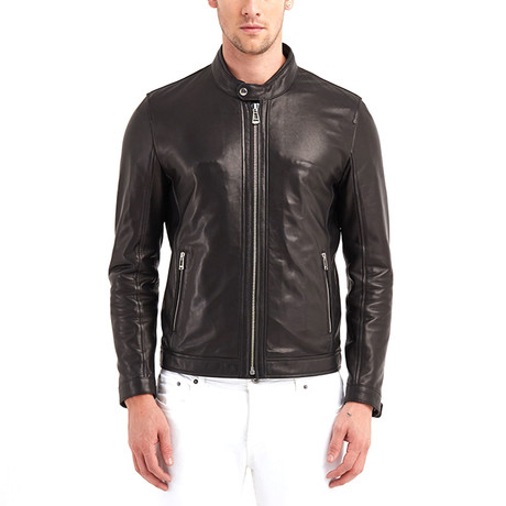 Cayuga Buttoned Collar Leather Jacket II // Black (S)