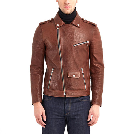 Shoals Biker Leather Jacket // Red + Brown (S)