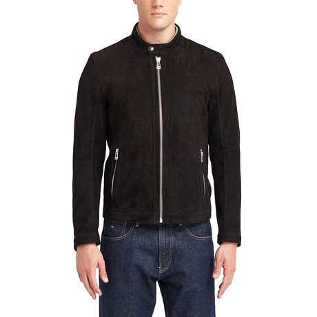 Cayuga Buttoned Collar Leather Jacket I // Black (S)