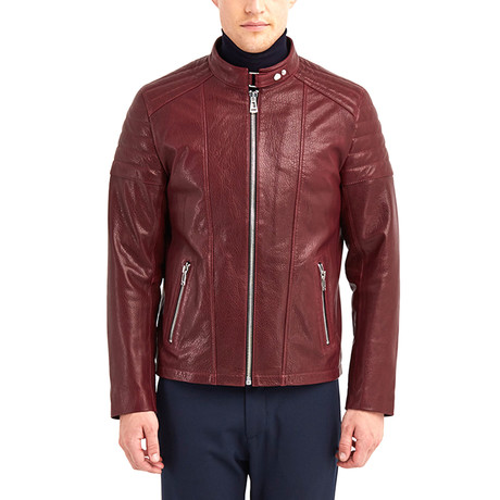 Oahe Biker Leather Jacket // Bordeaux (S)