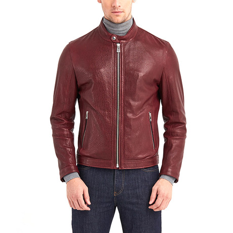 Cayuga Buttoned Collar Leather Jacket // Bordeaux (S)