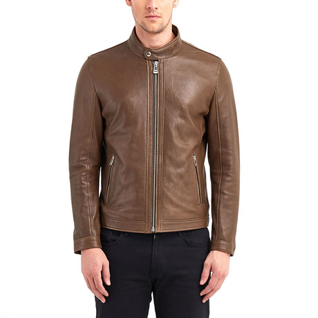 Cayuga Buttoned Collar Leather Jacket // Khaki (S)