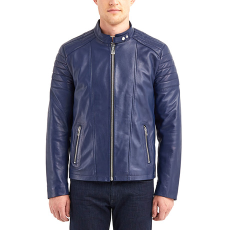 Oahe Biker Leather Jacket // Dark Blue (S)