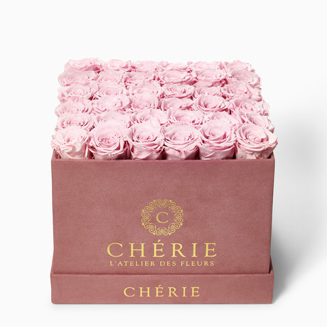 Blush Pink Roses // Square Thistle Suede Box