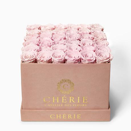 Blush Pink Roses // Square Blush Pink Suede Box