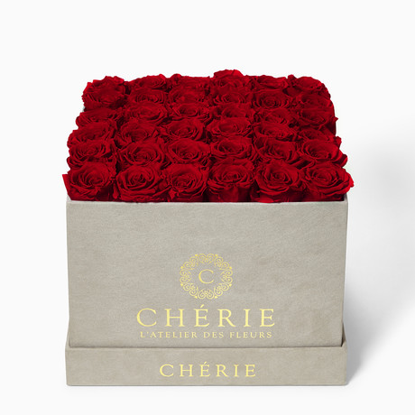 Red Roses // Square Gray Suede Box