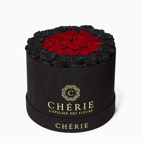 Red + Black Roses // Round Black Suede Box