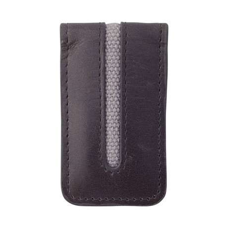 Canvas + Leather Magnetic Money Clip (Gray)