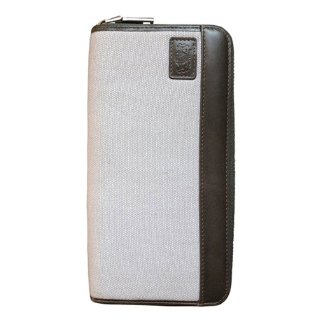 Canvas + Leather Zipper Travel RFID Wallet (Gray)