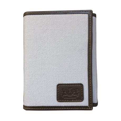 Canvas + Leather Tri-Fold RFID Wallet (Gray)