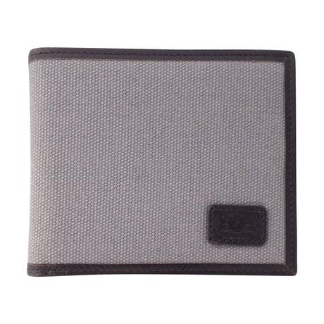 Canvas + Leather Bi-Fold RFID Wallet (Gray)