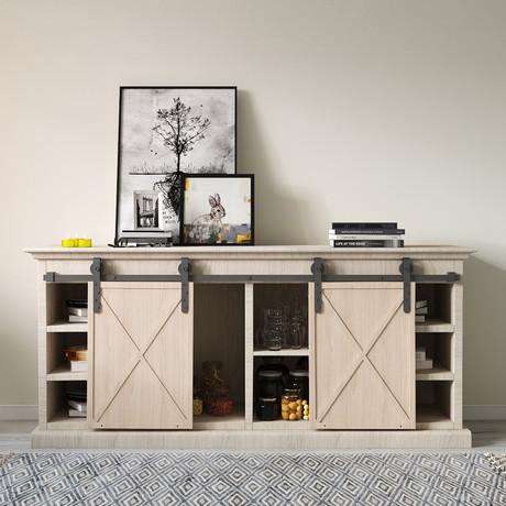4ft Double Cabinet Door Mini Barn Door Hardware Kits for Cabinet Doors // J Shape