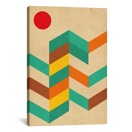 """Geometric Landscape With Sun // Nouveau Prints (12""""W x 18""""H x 0.75""""D)"""