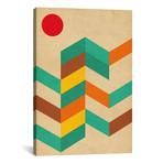 """Geometric Landscape With Sun // Nouveau Prints (12""""W x 18""""H x 0.75"""" D)"""