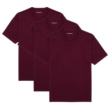 V-Neck T-Shirt // Burgundy // Set of 3 (XS)