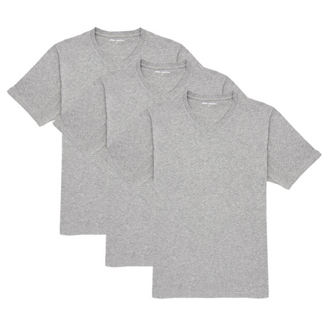 V-Neck T-Shirt // Gray // Set of 3 (XS)
