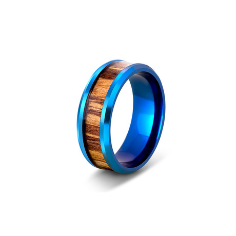 Byakko Ring // Blue + Wood (Size 6)