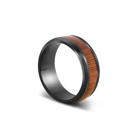 Byakko Ring // Black + Wood (Size 6)