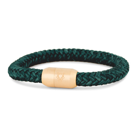 "Portus Nautical Rope Bracelet // Matte Gold + Green (7"")"