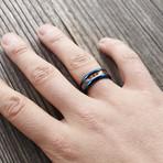 Byakko Ring // Blue + Wood (Size 6)